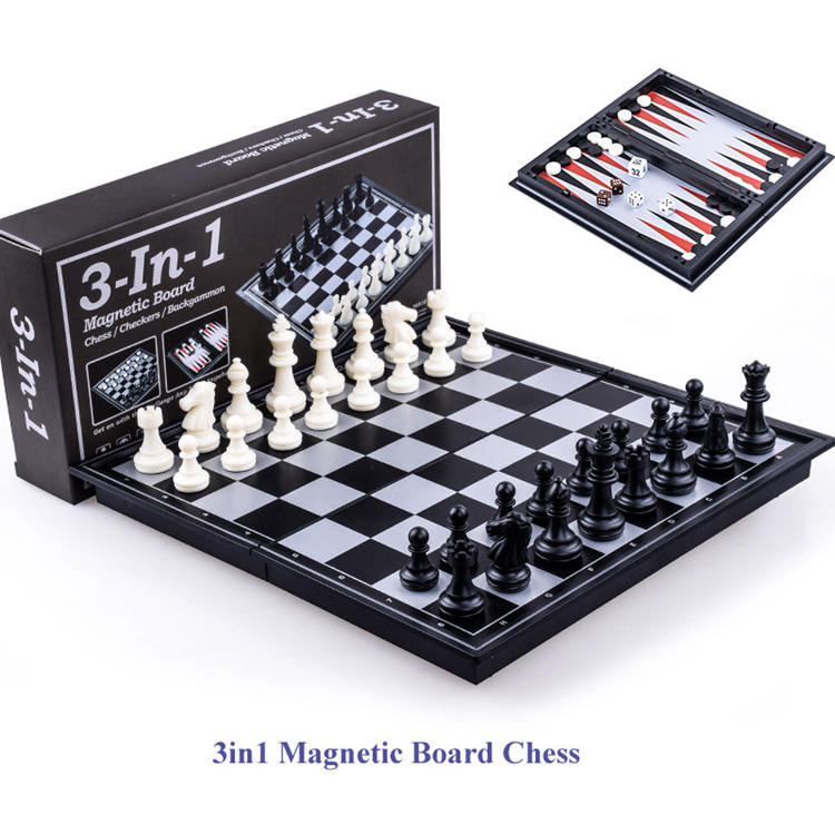 3 in 1 magnetic chess games Backgammon Checker Set Wood Adult Kids Chess Case Custom Game Customized Box Logo Wooden Time Sets
