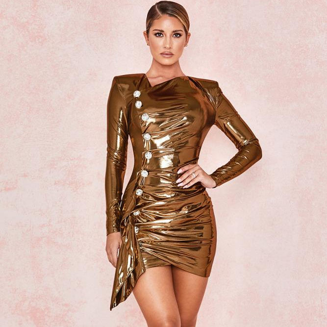 Metallic Gold Mini Dress Long Sleeves Sexy Golden Party Ruched Dresses with Diamonds Button