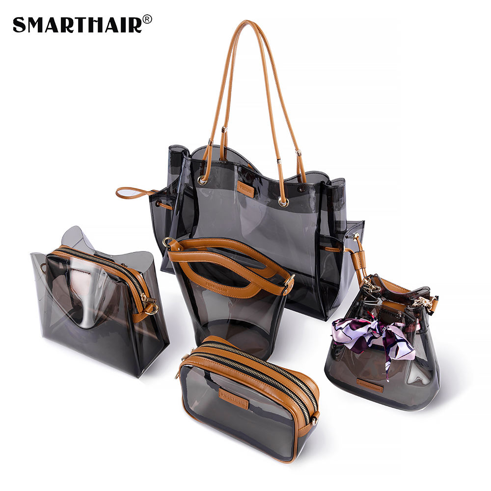 SMARTHAIR damen mode frauen luxus designer Transparent Dame Klar Fenster handtasche Kosmetik Make-Up tasche Sets logo