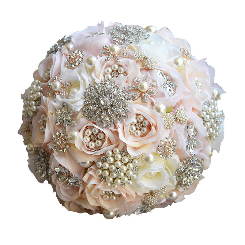 Gorgeous Satin Roses Crystals Embellished Artificial Flowers Bridal Wedding Bouquet