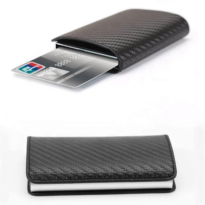 Newest Slim PU Carbon Fiber Minimalist ID Credit Card Holder RFID Blocking Wallet Protector Minimalist Aluminum Wallet for Men