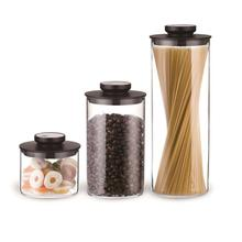 Airtight storage jar set, borosilicate glass storage container set for dry food, storage canister for kitchen