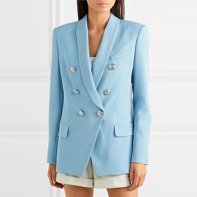2020 new arrivals long sleeve double -breasted shawl collar embellished ladies blazer