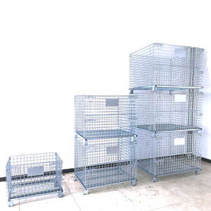 Geruite Transport Welded Foldable Stackable Pet Bottle Cap Steel Metal Warehouse Logistic Storage Wire mesh Cage