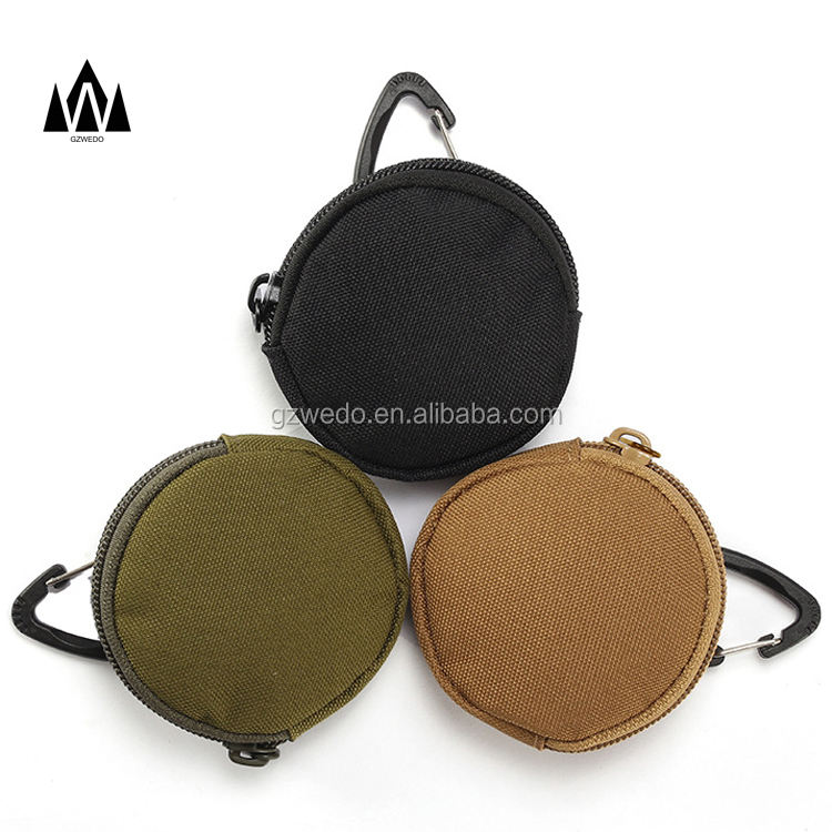EDC Mini Key Holder Men Small Pocket Circle Coin Key Chain Pouch Wallets with Zipper for Earphone