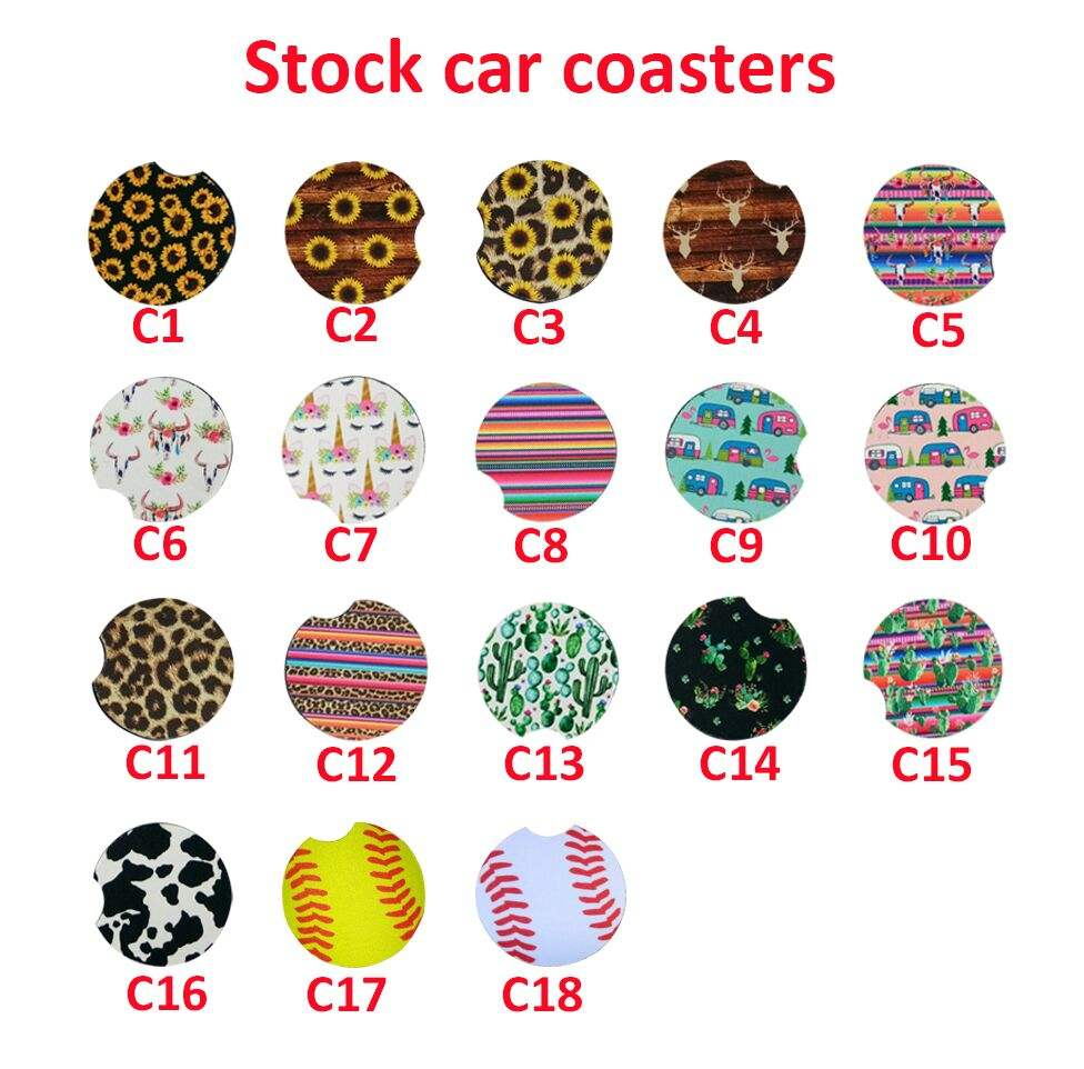 Hot sale Neoprene Car Use Coaster Sunflower Car Cup Holder Coasters