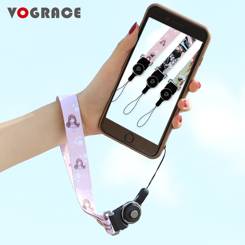 Hot sale VOGRACE cheap OEM sublimation phone lanyard,customized cartoon anime printed polyester nylon neck lanyard for office