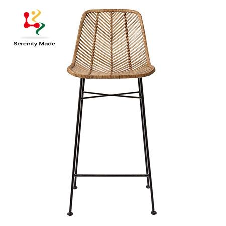 Plastic Woven Rattan Wicker High Bar Stool Chair For Outdoor Use