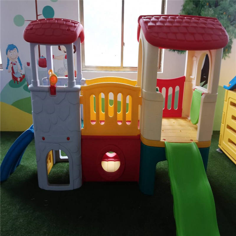 Colorful indoor kid plastic play house slide with blowing toy