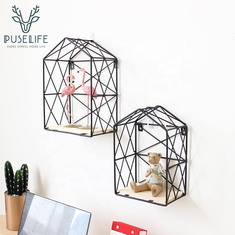 House Shape Black Metal Wire Wall Floating Shelves 2019 Ins photo metal grid wall decor for living room