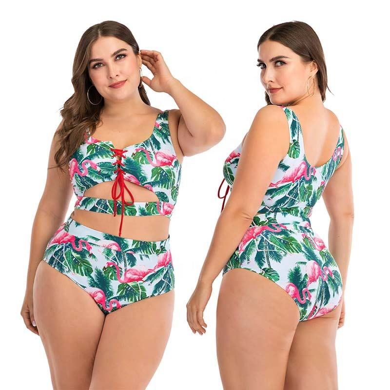 FFH8815 Swimsuit Custom Print Leaves Two Piece Lace Up Bandage Front New Arrivals 2020 Swimwear Fat Ladies Bikini Woman
