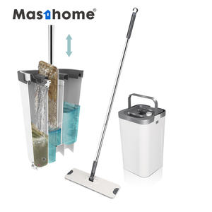 Masthome Stainless Steel Pole Handle Removable magic wash Mop water Squeeze Flat Cleaning Mop with Bucket