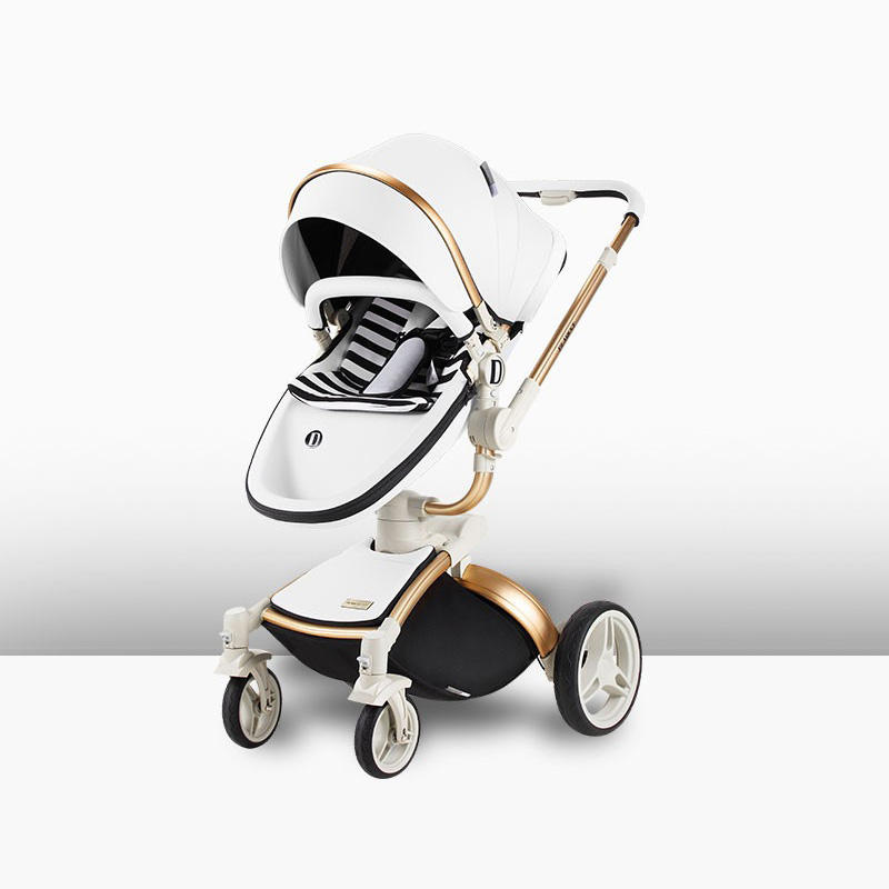 Compact Stroller Foldable 2019 Lightweight Black Aluminium Alloy 4 Wheels Kids Strollers Leather Baby Stroller Buggy