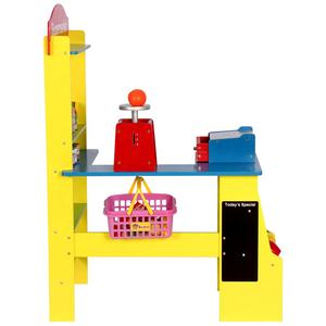 Wooden Grocery Store Cashier Desk Supermarket Toy Set with a Blackboard and Food Accessories