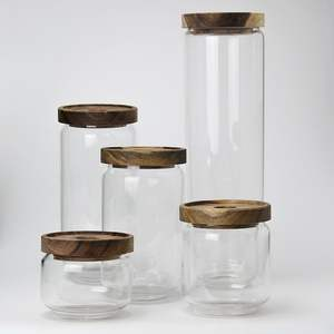 Round Cylinder Heat Resistant Apothecary Storage Dry Rice Vacuum Borosilicate Glass Storage Jar Food Glass Jars With Wood Lid