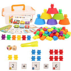 84 Items/Set Kids Toys = 60 Math Counting Bear + 6 Matching