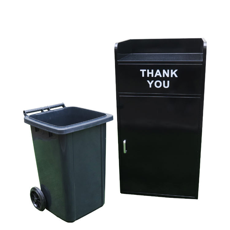 Outdoor Black Decorative Garbage Bin Stainless Steel Trash Can Waste Bin