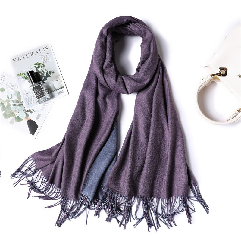 Double Sided Double Plain Color Fashion Ladies Cashmere Silk Winter Scarf