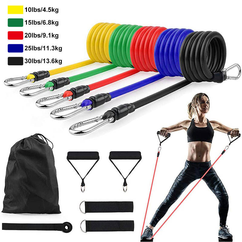 11PCS Latex Elastic Resistance Tube Set Fitness Exercise Fat Burner Booty Yoga Bands Bandas Resistencia Strength Bands Pull Rope