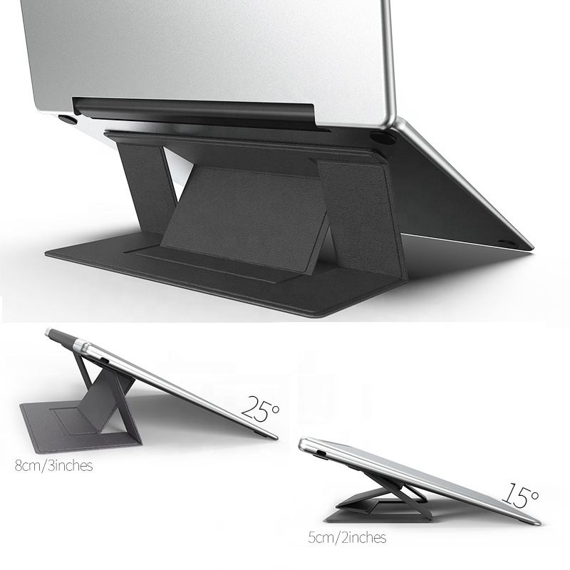 Portable Réglage Invisible Ordinateur Portable Support de Tablette Pliable En Cuir PU Support De Support Pour iPad Portable Pliable Pour Ordinateur Portable
