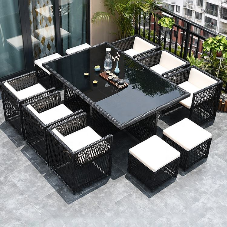 2020 black luxury pe wicker rattan patio garden luxury 6 chairs rattan 10 seat table for yard with 4 footrest