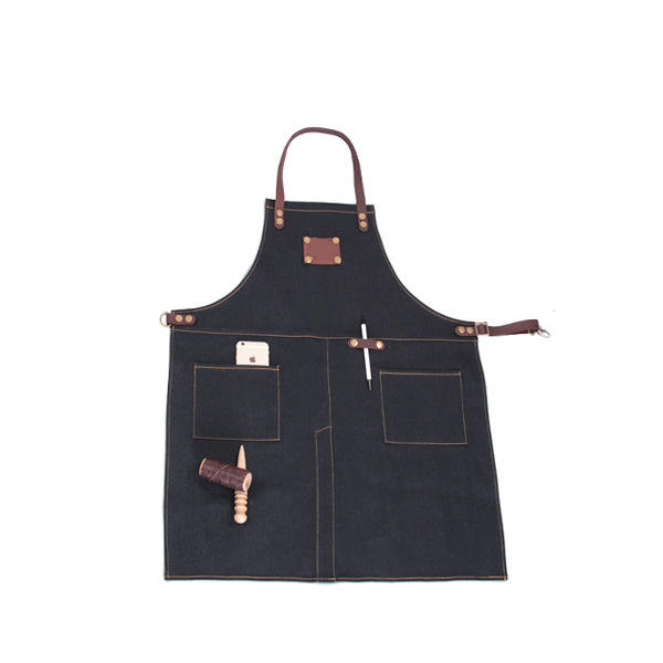 Kitchen Cooking Denim Apron Pattern With Leather Strap