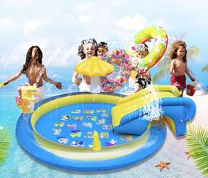 Inflatable Kiddie Crocodile Spray Wading swimming Pool with water Slide