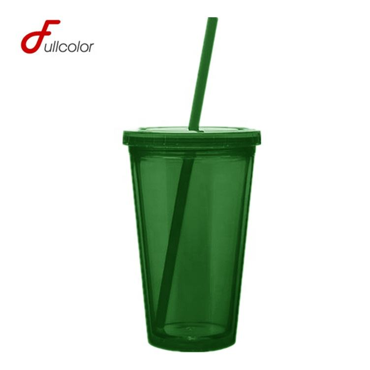 Hot Selling FDA pass 450ML 650ML BPA free double wall plastic bicycle tumbler with straw