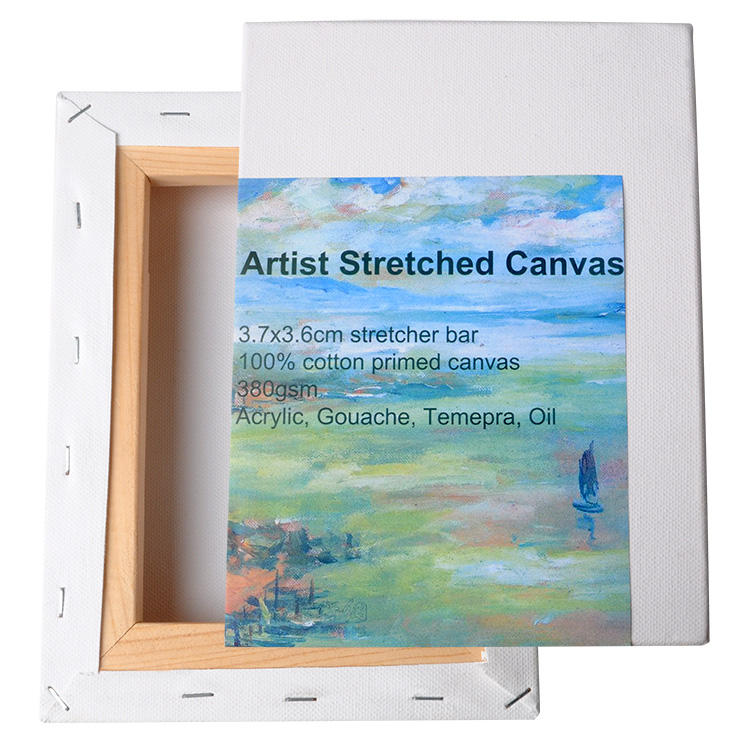 380gsm Primed Cotton Thick Bar White Stretched Canvas for Painting