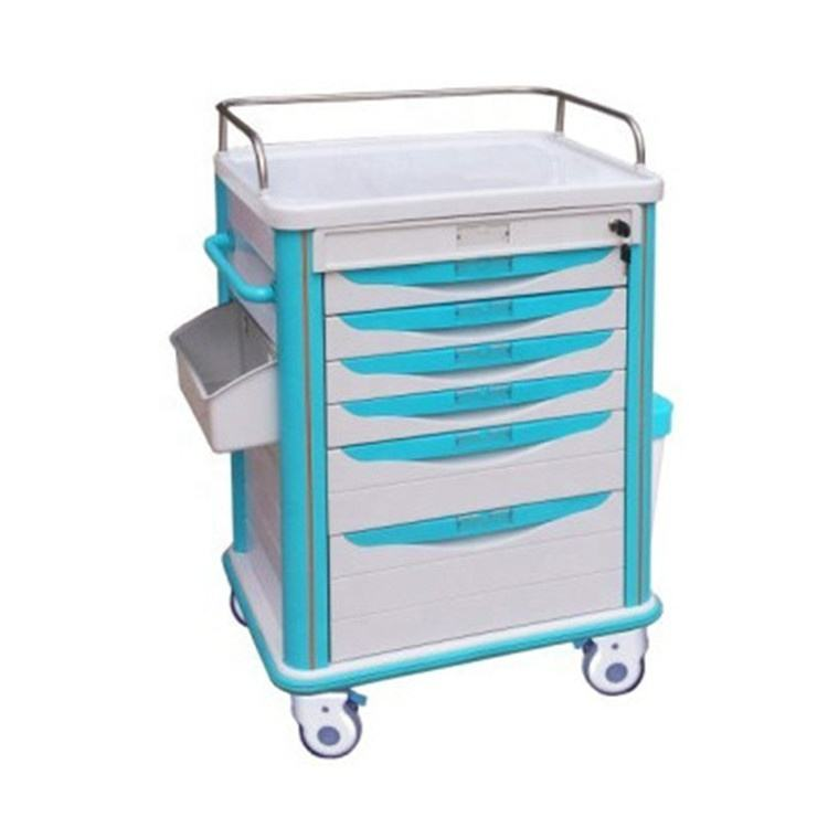 BR-MT04 ABS plastic top board 4 columns 6 drawers 4 luxurious noiseless castors medicine trolley