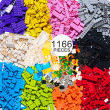 1166Pcs Building Bricks Kit with Wheels, Tires, Axles, Windows and Doors Pieces - Classic Colors - Compatible with Legoinglys