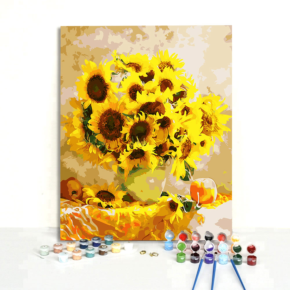 Custom Packaging Glowing Sunflower Pictures Vibrant Paint by Numbers on Canvas