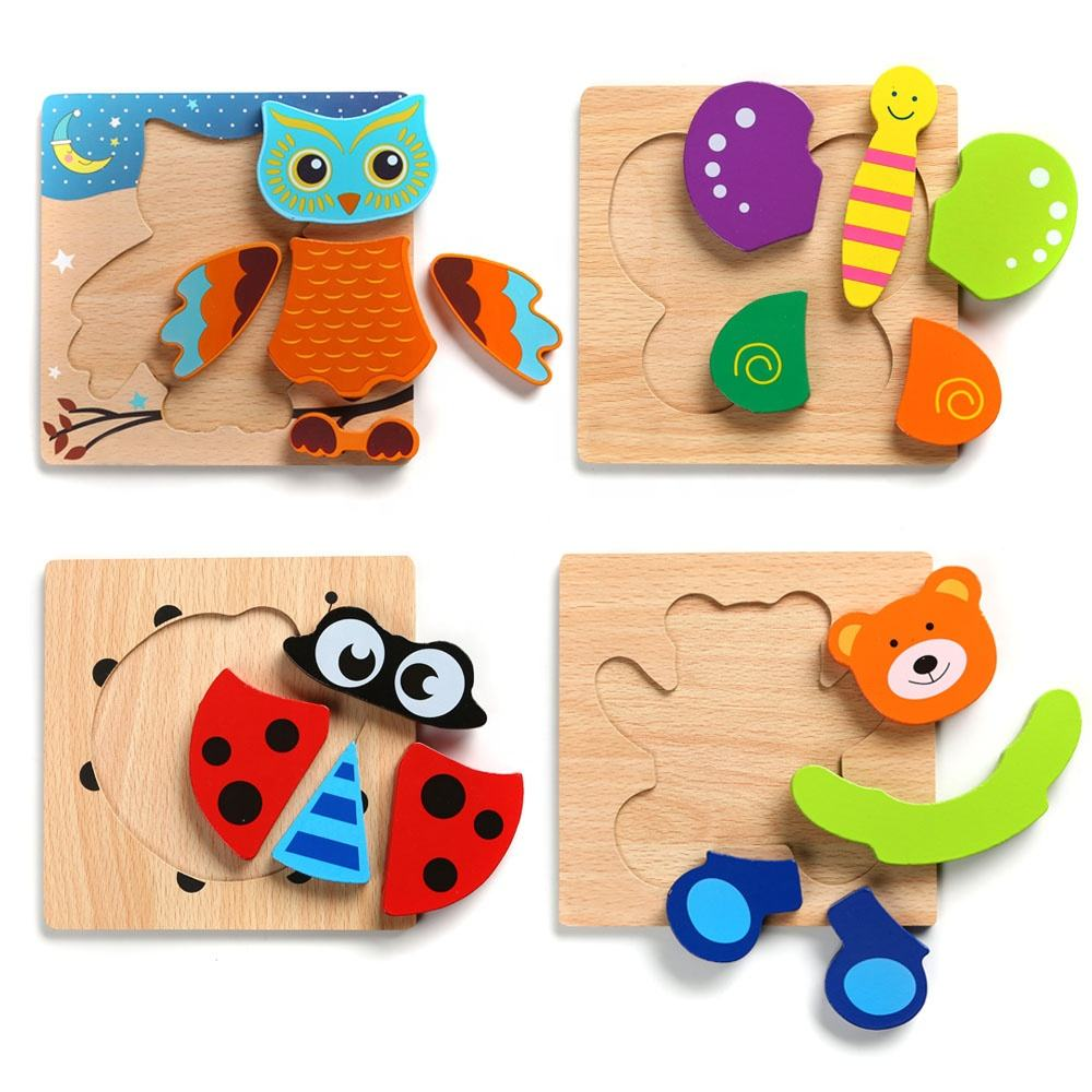 ASTM certification kids puzzle game 3D animal wooden puzzle