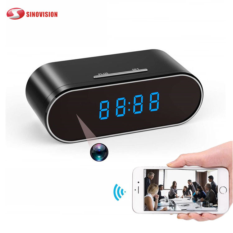 Sinovision Wireless table clock IR Night Vision mini dvr camcorder app remote control HD 1080P wifi Camera alarm clock Wireless