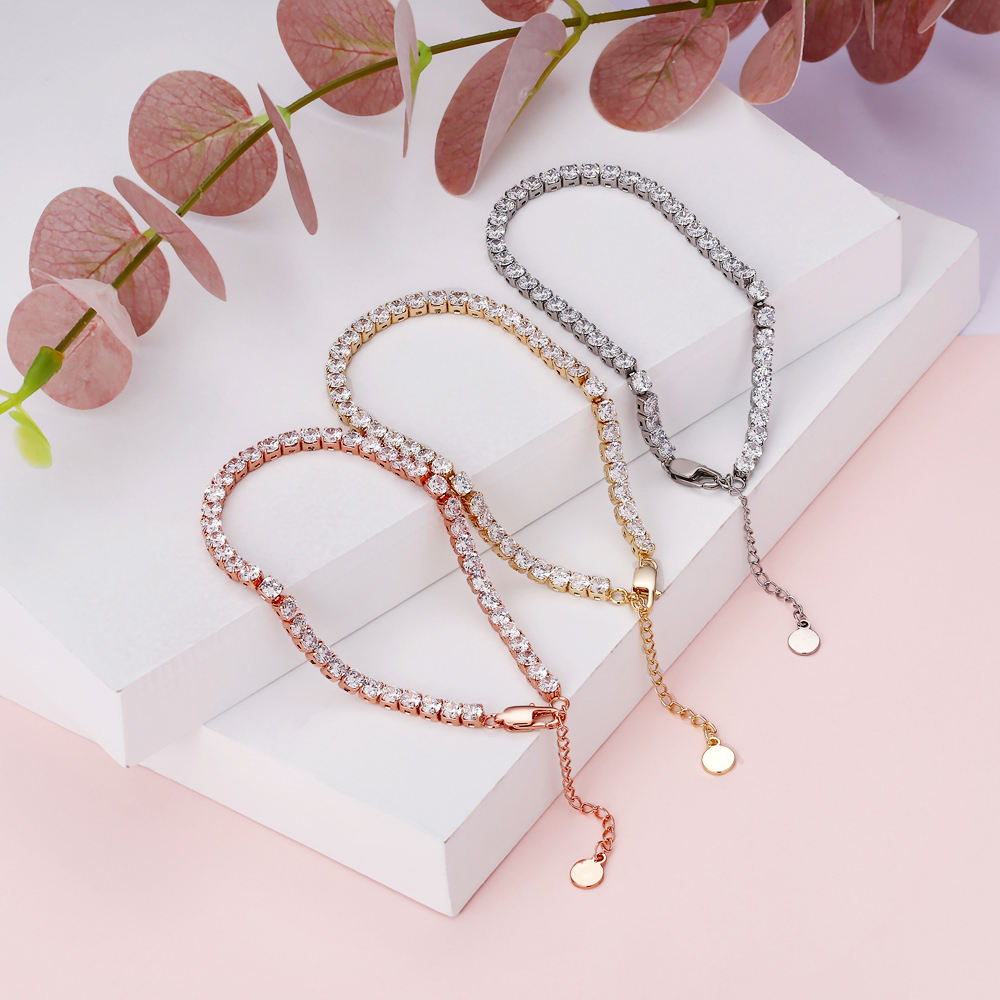 KRKC 2020 New Design Iced Out Tennis Chain Anklet Jewelry Personalized Hotwife Sexy Thin Rose Gold Diamond CZ Tennis Anklet