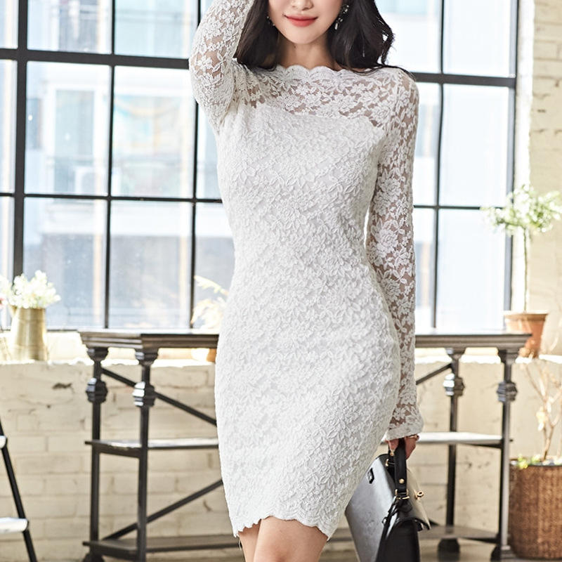 New arrival long sleeve women club sexy white short party elegant lace mini dresses for ladies bodycon clothes