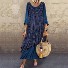 Women's round neck irregular suit skirt polka dot printed round neck long sleeve plus size dress