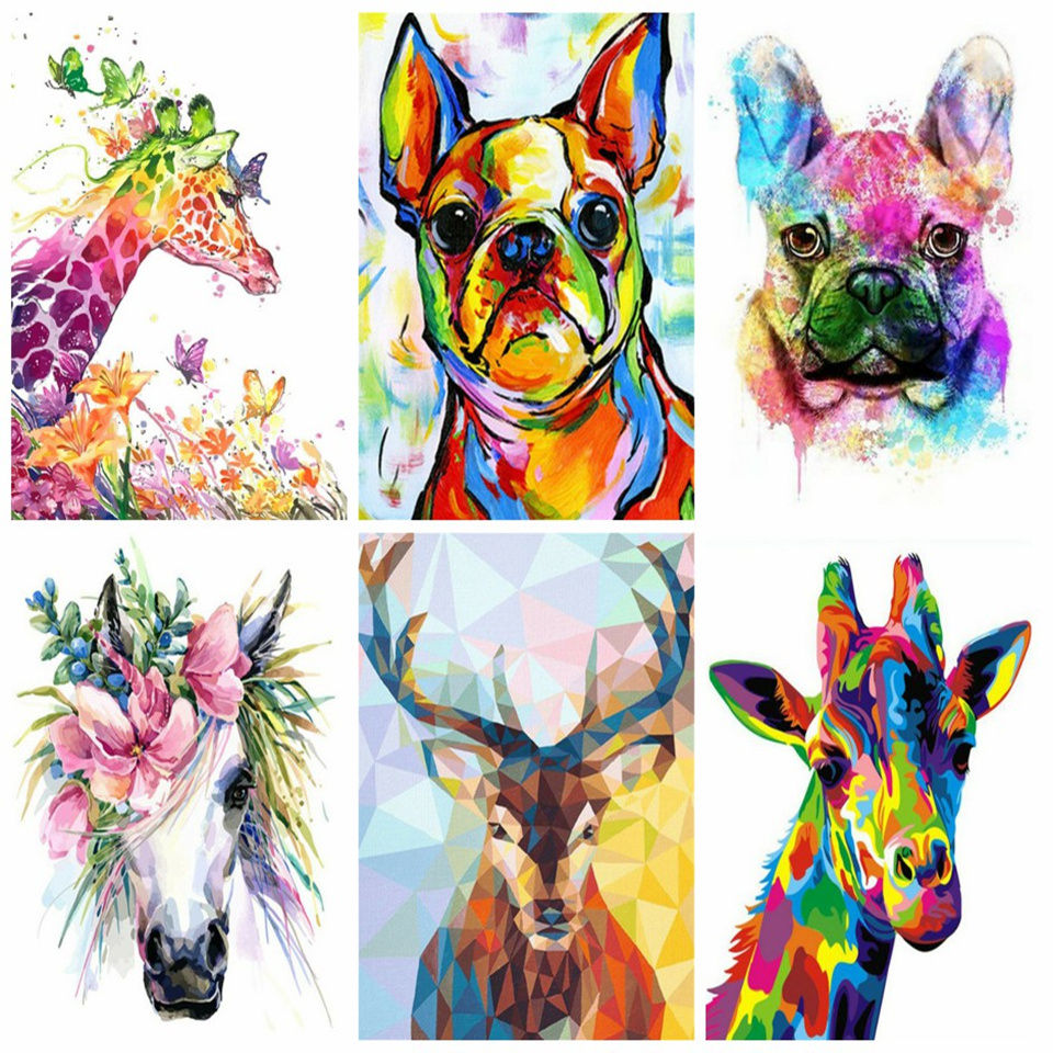 Craft Canvas Painting Kits Animal Oil Paint By Numbers Art Drawing For Home Decor 40x50cm