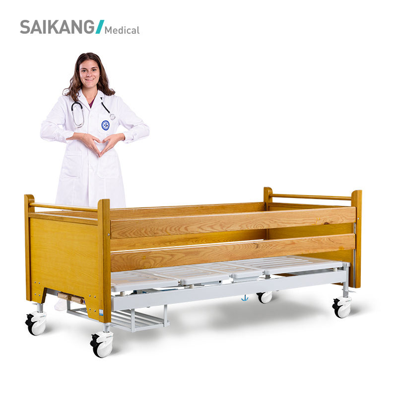 H2h Saikang Wooden Backrest Two Crank Manual Medical Bed