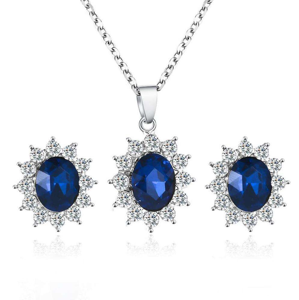 Wholesale Hot Fashion Jewelry Set Sunflower Zirconia Bijoux Jewelry Set With Statement Necklace Earring For Women 2019