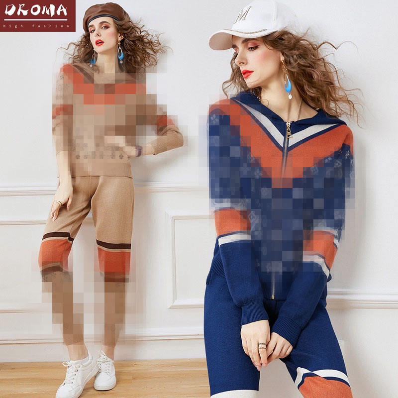Droma Women's Hooded 2 Piece Sweat Suitsweater Knit Two-piece Set Jogging Suits Autumn And Winter Zipper Suit Supplier Wholesale