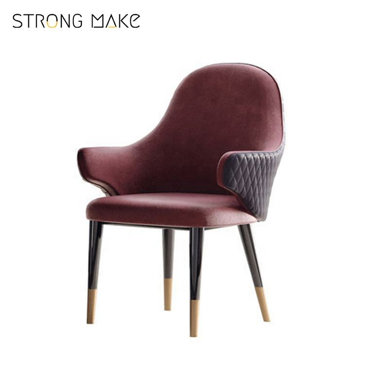 Scandinavian design velvet french style classical modern wood dining room chair with arms