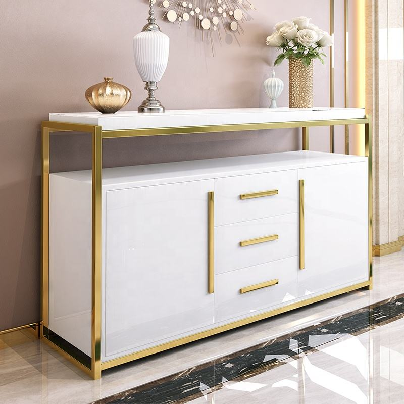 modern luxury gold stainless steel White wooden High Gloss buffet cabinet sideboard