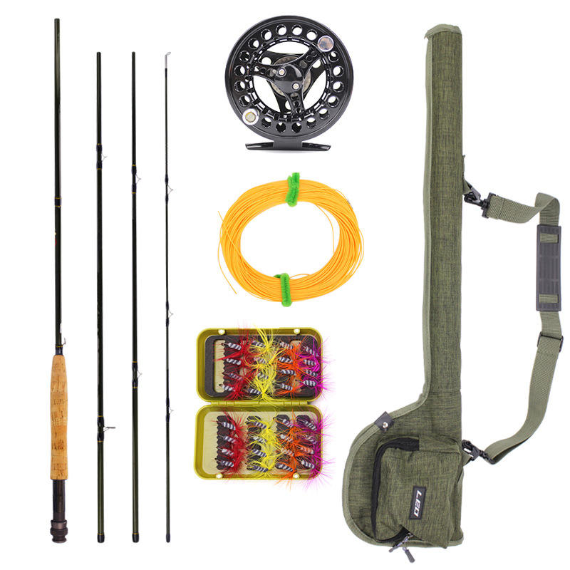 Peche Fly Fishing Rod Fly Set 2.7M High Carbon 4 Section Plug Fly Fishing Line Bait Bag Combination Stream