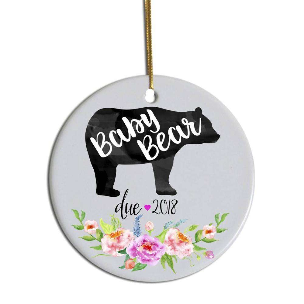 Personalized Customized Logo Sublimation Printing Christmas Tree Decoration Round Shape Ceramic Ornament