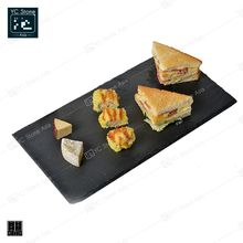 Amazon Hot Sale Natural Slate Dinner Plate Rectangle Black Stone Plates for Tableware  Cheese Board Cheese Plates Fruit Slates