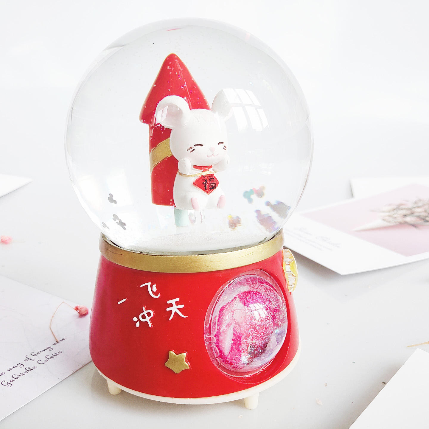 Stock Mouse Year 100mm Led Music Water Artificial Snow Globe Bride and Groom Water Globe