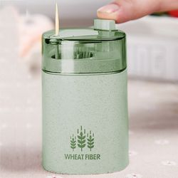 New Toothpick Box  Wheat Straw Hand Press Toothpicks Storage Box