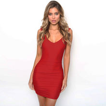 European sexy ladies backless tight-fitting V neck hip dress bottoming slim sling women dress