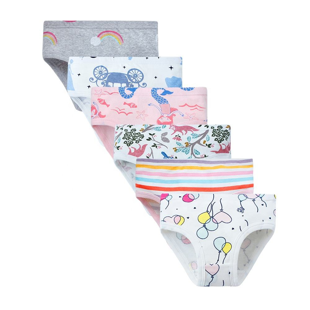 Fancy girls Photos underwear Customized soft young girls underwear 3-11 years 100% cotton girls underwear